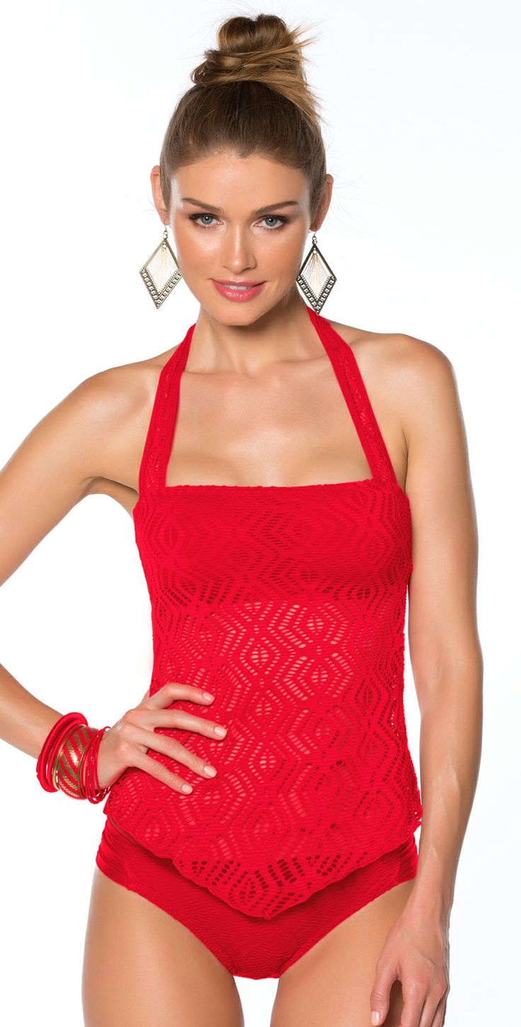 Tankini bathing suits often look like a one piece suit but are constructed of a 2 pieces; a tank top style upper and a separate swim bottom. The result is a suit that looks great, feels great, and can pair with any type of bikini, boy short, high waisted, or swim skirt bottom.