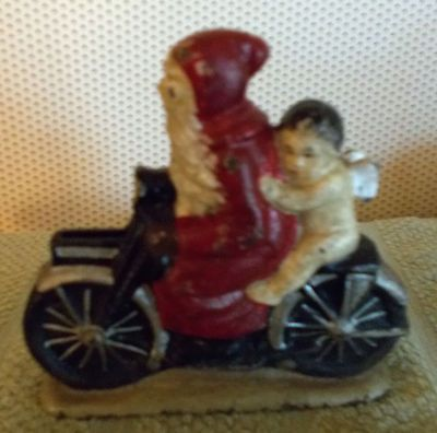 Vintage Cast Iron Bank Santa Claus on A Motorcycle with Angel   eBay