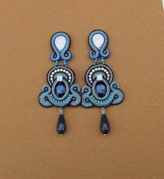 Long Blue Clip-On Earrings Long Drop Soutache by StudioGianna