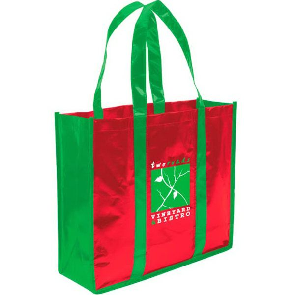 """This trendy tote is perfect for trade shows, grocery shopping and running errands! Made of non-woven polypropylene, this 3 bottle tote bag features a permanent bottom panel and reinforced handles. It can carry up to three bottles. Available in a variety of colors, this tote bag measures 11"""" x 14"""" x 4 1/2"""" and can be imprinted with your company name, logo or custom design for maximum brand exposure. Invest in this non-woven tote today!"""