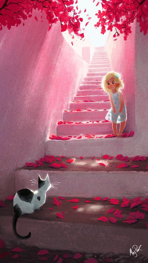 girl and cat with red petals on a stair