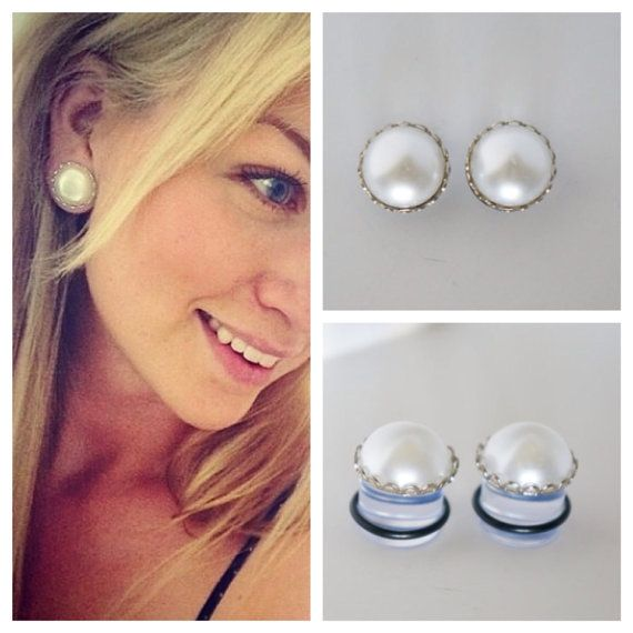 "1/2"" 9/16"" 5/8"" WHITE Pearl Gauges Plugs 12mm 14mm 16mm 0g 00g"