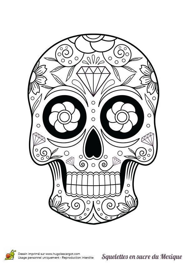 squelette sucre fleurs et diamants