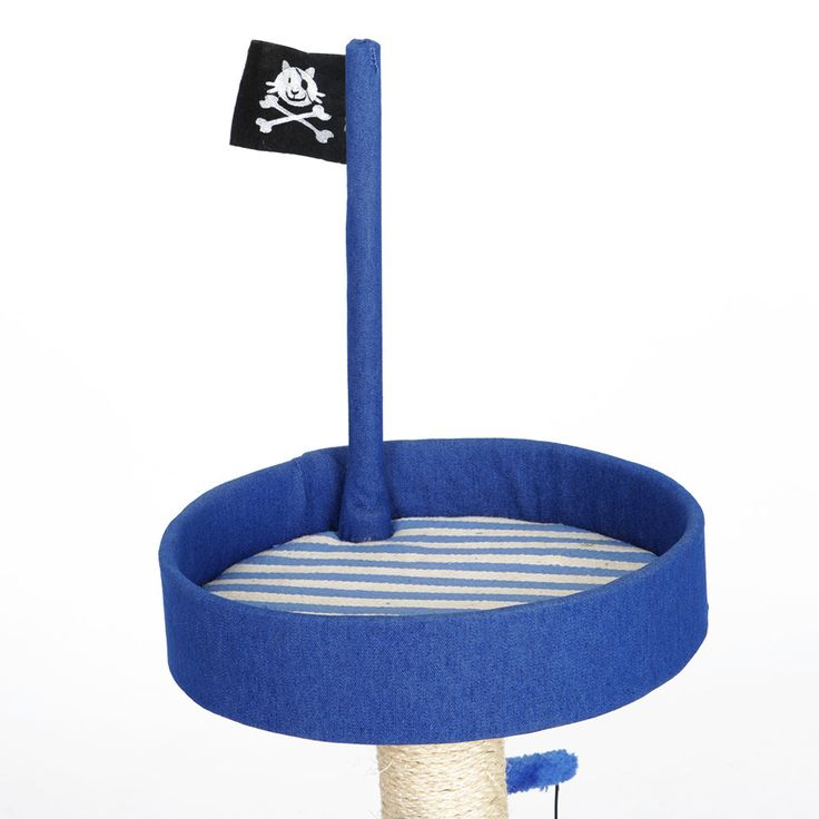 Blue Pirate Ship Flag Cat Tree Climbing Frame Scratching Post