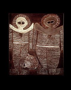 Alec Mingelmanganu, 'Wandjina', c.1980, natural earth pigments and oil on canvas, National Gallery of Australia, Canberra, purchased 1990