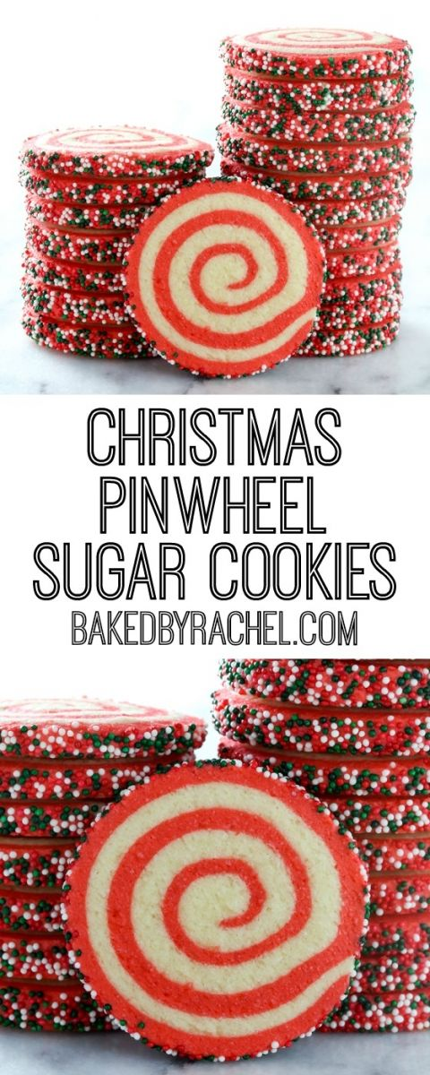 Easy Christmas pinwheel cookie recipe from @bakedbyrachel A festive holiday cookie!