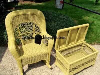 painted wicker rocker and ottoman yellow for front porch basket rh pinterest com
