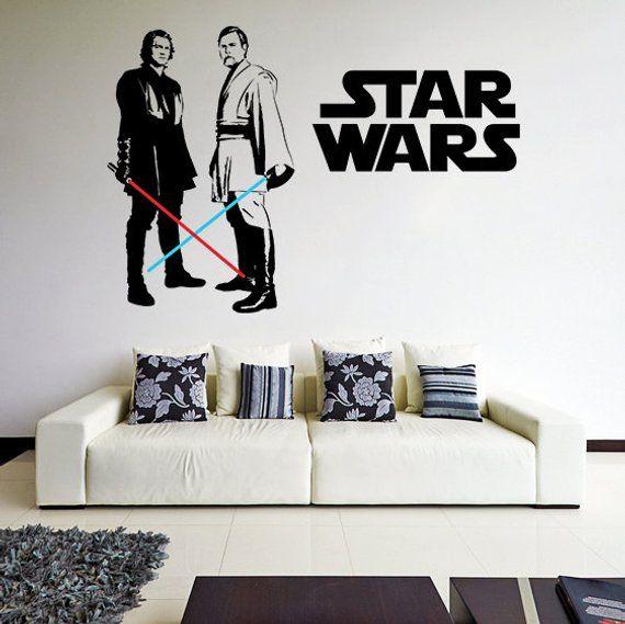 Star Wars Wall Sticker Art Vinyl Movie Vader Jedi Fan Decor Decal Dark Imperial Darth Water Stickers Force Obi Wan Anakin Decals Vinyl Wall Decals Vinyl Wall Decals