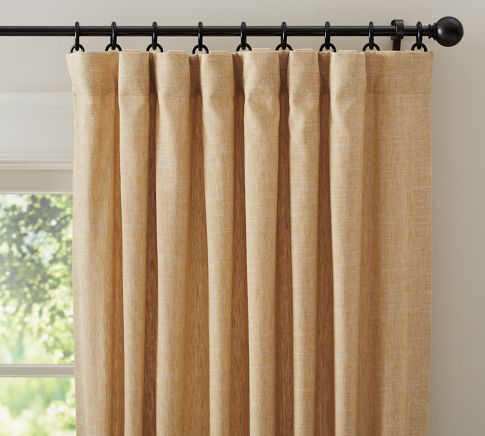 emery linen drape pottery barn wheat. Black Bedroom Furniture Sets. Home Design Ideas
