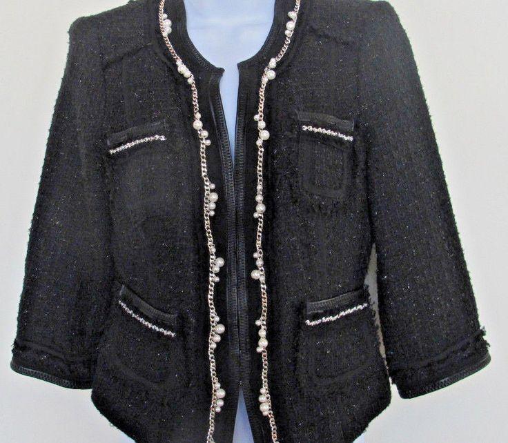 Women's Black Suit Jacket w Pearl, Wool, Silver Chain White House Black Market #Silver #Blazer