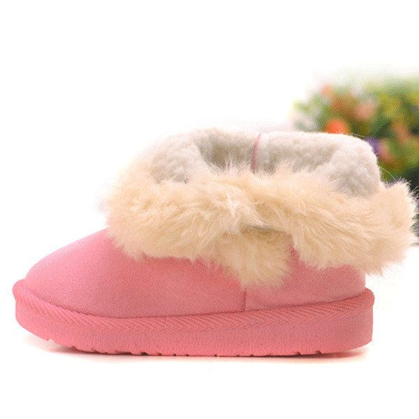 Suede Pure Color Warm Fur Lining Snow Kids Boots