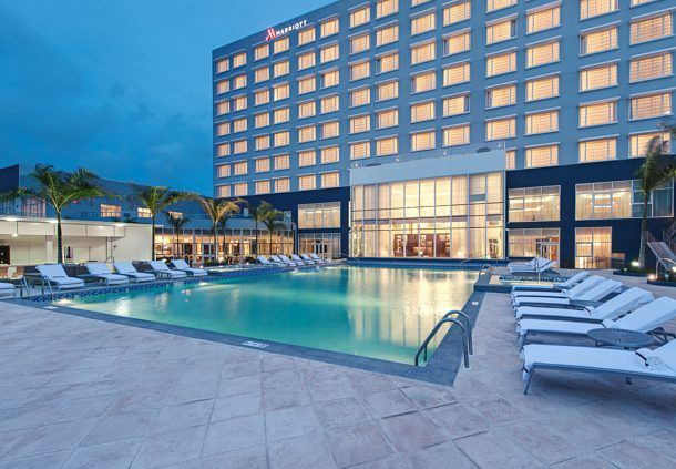 Marriot Hotel, Georgetown Guyana, South America.  Outdoor Pool