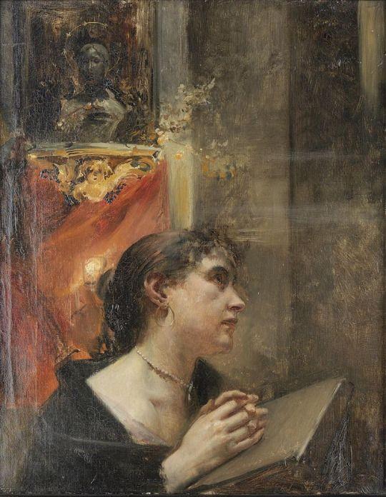 Praying in church - Eduard Veith