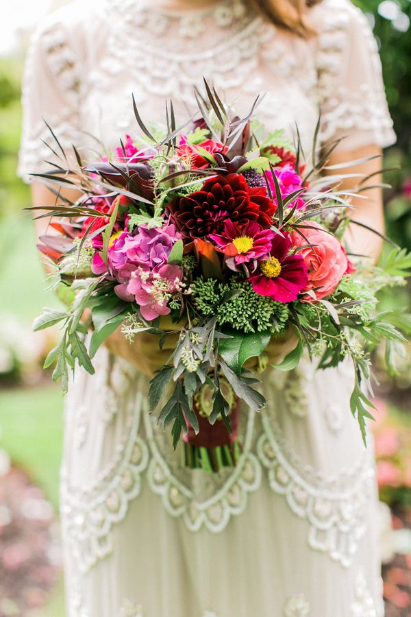 wild fuchsia bouquet - photo by Alexis June Weddings http://ruffledblog.com/london-inspired-jewel-tone-shoot #bouquets