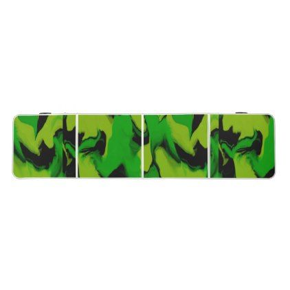 Wavy Green and Black Beer Pong Table - black gifts unique cool diy customize personalize