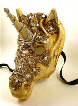 Gold Unicorn Masquerade/Carnival Mask.: