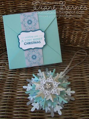 Stampin Up Festive Flurry Christmas ornament & envelope punch board box with instructionsenvelope punch board box instructions