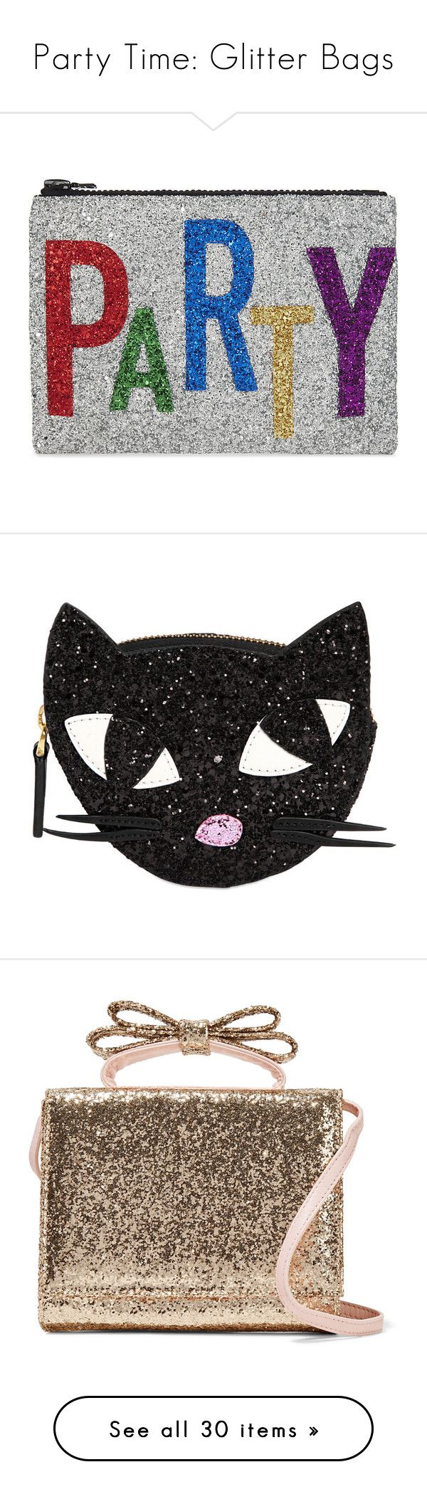 """""""Party Time: Glitter Bags"""" by polyvore-editorial ❤ liked on Polyvore featuring glitterbags, bags, handbags, clutches, glitter handbag, party purses, zip purse, sparkly purses, zipper handbag and wallets"""
