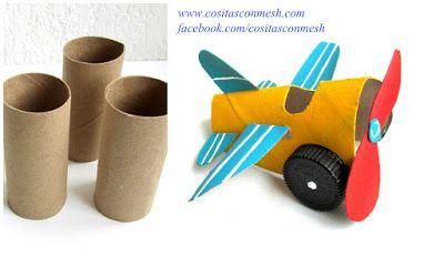 Manualidades para niños avioneta reciclando tubos de papel higiénico ~ cositasconmesh