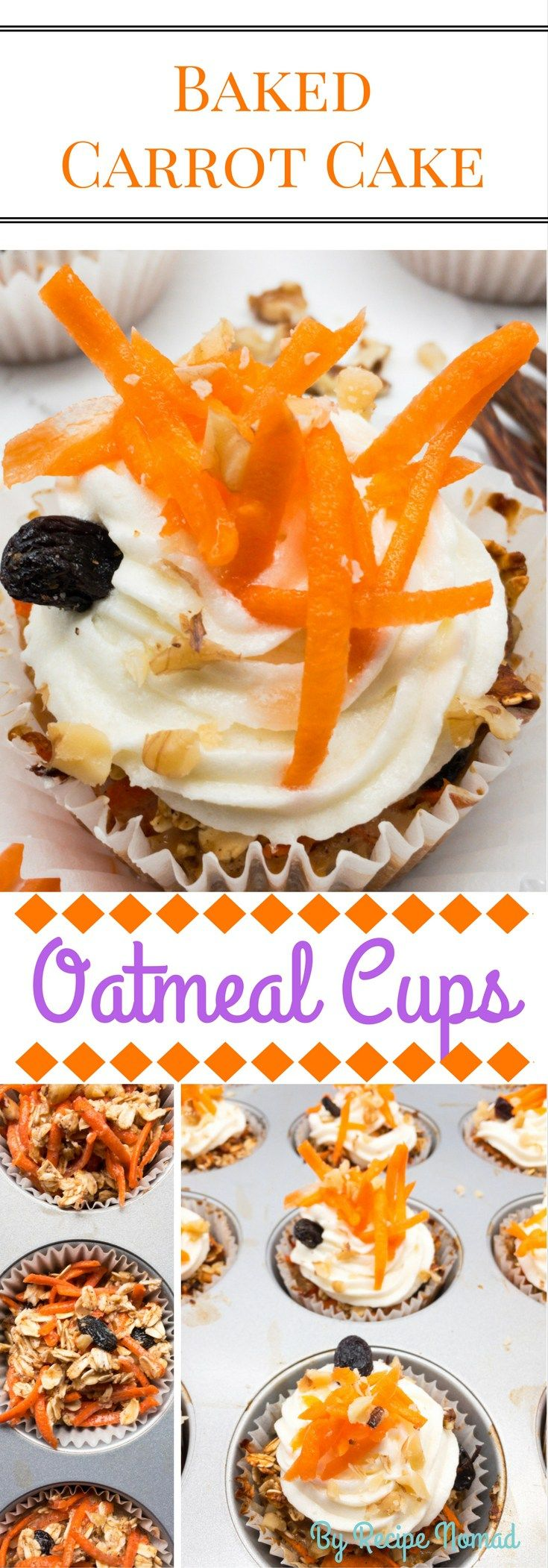 These Baked Carrot Cake Oatmeal Cups are full of shredded carrots, raisins and walnuts and they're healthier and even more delicious than traditional Carrot Cake! They make the perfect on-the-go breakfast or afternoon treat!  Baked Carrot Cake Oatmeal Cups   Recipe Nomad  http://www.recipenomad.com/baked-carrot-cake-oatmeal-cups/