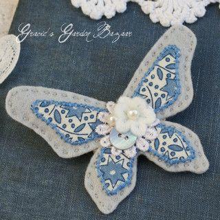Grey felt butterfly brooch by Gracie's Garden Bazaar, via Flickr