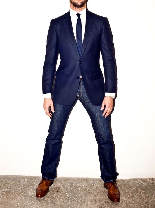 The blue blazer brooks brothers blazer levi s jeans allen edmonds