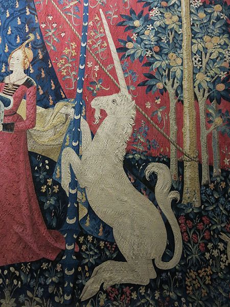 "1500.Musée de cluny.: These famous tapestries date from around 1500 and are located in the Musée national du Moyen Âge in Paris. There are 6 tapestries in the set, five depicting the senses of taste, hearing, sight, smell and touch. The last has the motto ""À Mon Seul Désir"" that translates roughly to ""my one desire"". The room that houses the tapestry is very dark with limited lighting to preserve them."