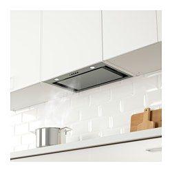 IKEA - UNDERVERK, Integrert ventilator, 5 års garanti. Les om vilkårene i garantiheftet.Integrert, gjemt bak kjøkkenskapets dør, gir et helhetlig kjøkken.Du kan enkelt ta av og rengjøre fettfilteret. 1 fettfilter er inkludert.Halogenpærene gir et godt lys til matlaging. 2 halogenpærer er inkludert.Lett å installere i et veggskap.Kan brukes på to måter; tilkoplet en ventil eller med kullfilter for resirkulering av luften.