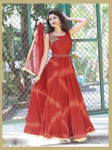 KESARIYA FASHION- Red Color Softy Tye Dyed Salwar-1207-3958
