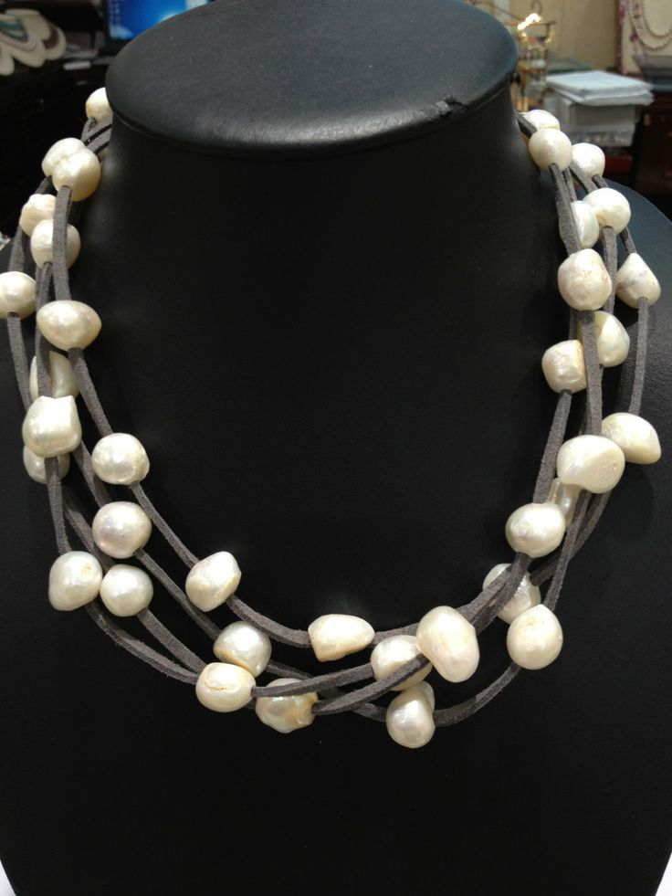 Leather Pearls Necklaces Freshwater Pearls Necklaces Baroque Multilayer Magnet Clasp Free Shipping Women Jewelry Grey Leather