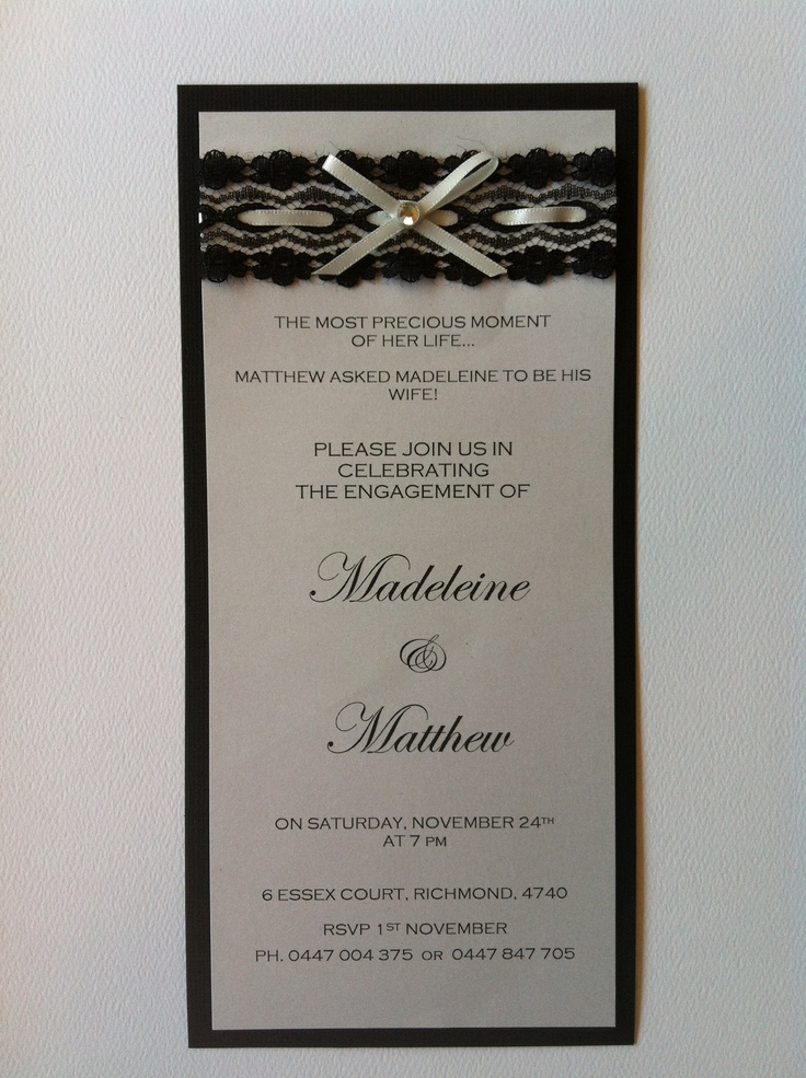 Maddy & Matts Engagement invitations made by Stationery By Heather