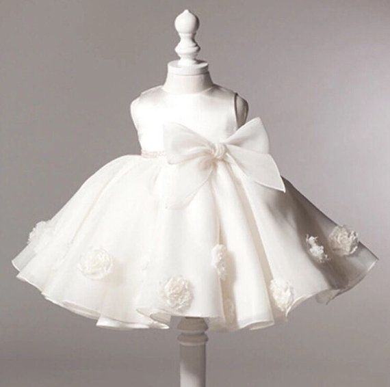Vintage baby girl baptism dress bow kids baby 1 year birthday dress for girls toddler princess tutu dress for special events