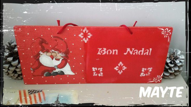 Cartel Navidad en valenciá,decaupage y stencil