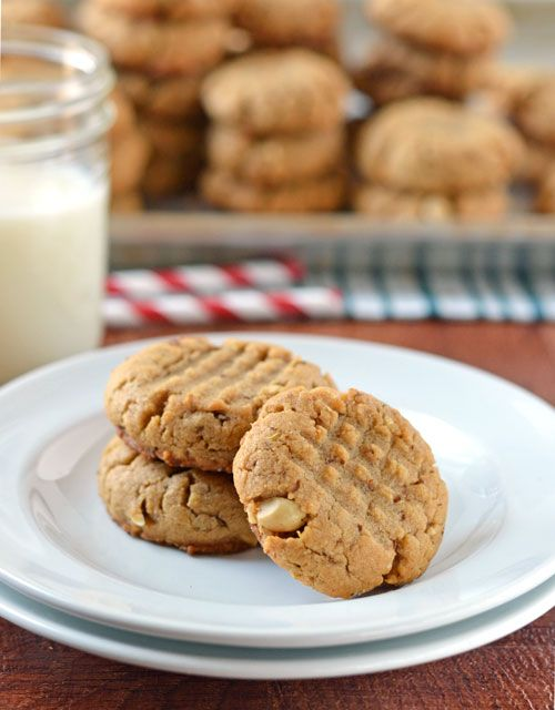 Healthy Peanut Butter Cookies. Soft, chewy, and NO butter. All of the moisture comes from the peanut butter instead! Miracle cookies :-)