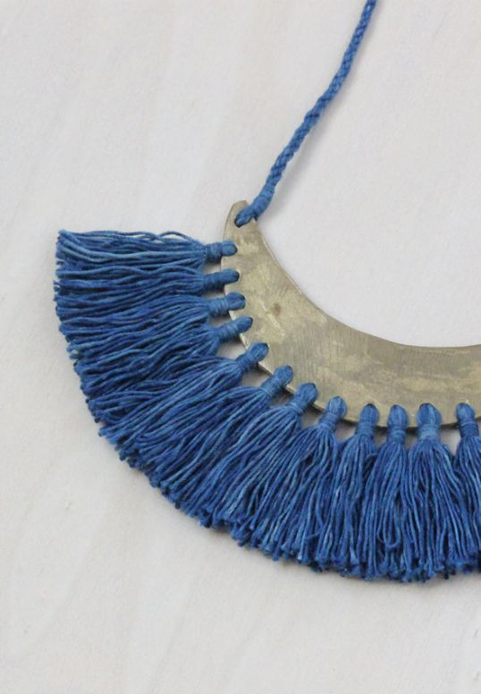 Handmade Brass & Indigo Tassel Necklace | forestiere on Etsy
