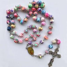 Free shipping 2017 fashion polymer clay round bead catholic rosary colorful quality bead cross necklace //Price: $US $5.99 & FREE Shipping //     #hashtag3