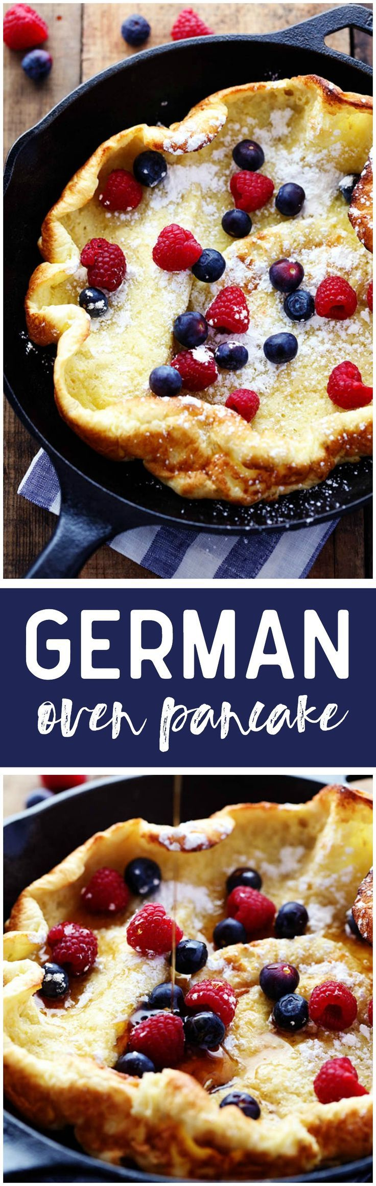 German Oven Pancake - A hot and puffy golden pancake that only requires 5 minutes of prep! This classic breakfast is always a huge hit at our house!