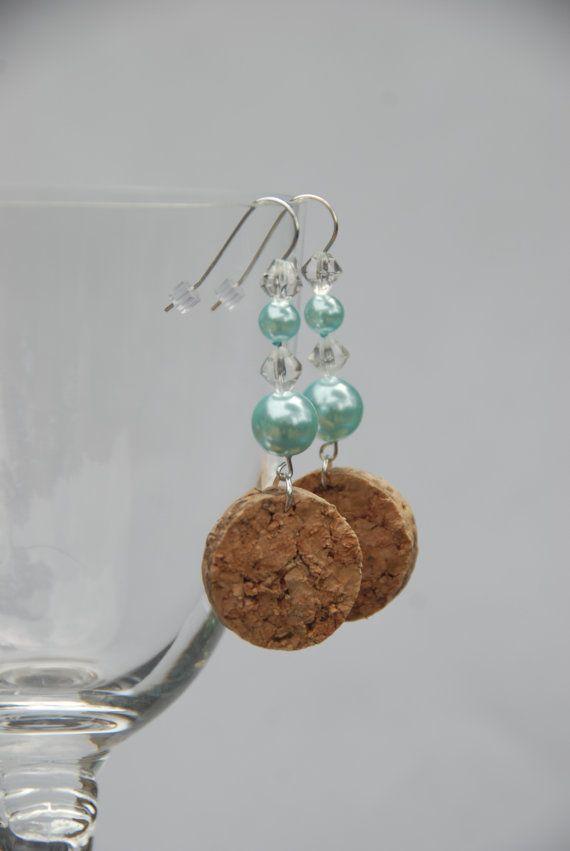Beaded Wine Cork Earrings Blue Glass Pearl by GulfCoasters on Etsy, $9.00