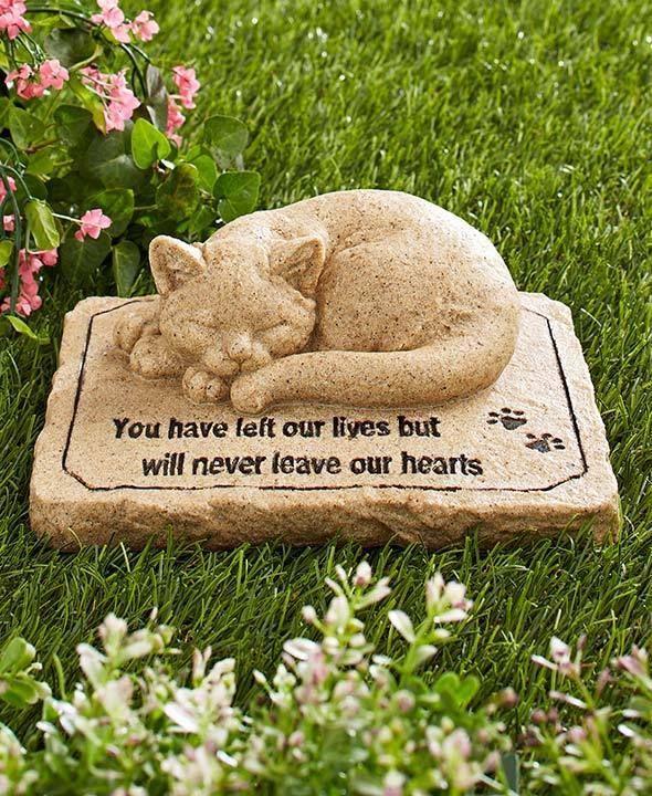 Pet Memorial Stone 3D CAT Sculpture Cold Cast Ceramic Garden Memorial Statue