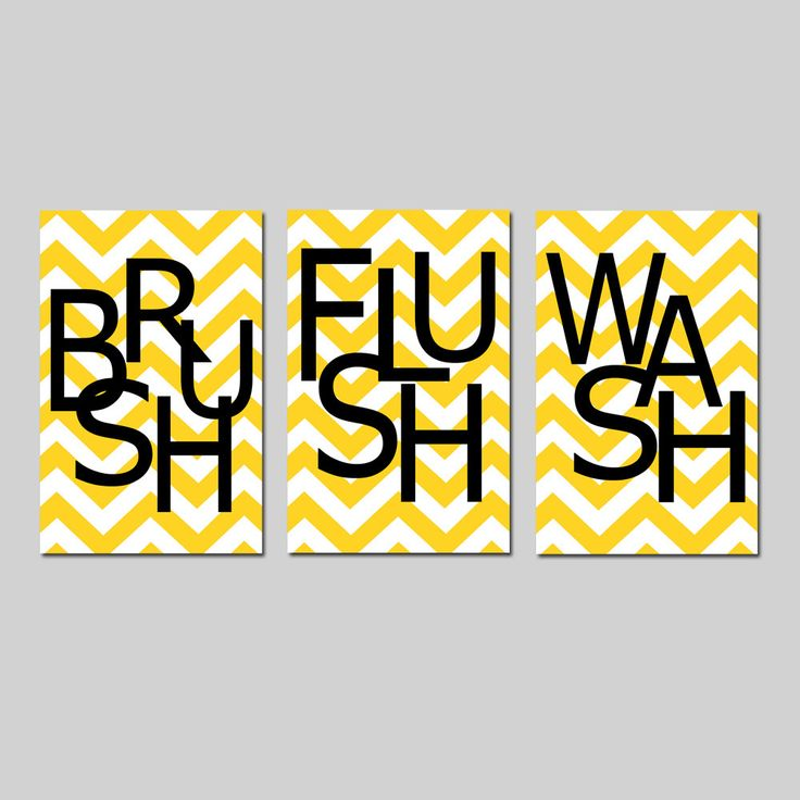 cute bathroom wall art - just paint fun pattern like chevron on canvas and then stencil on letters to spell out words like brush, flush, and wash.