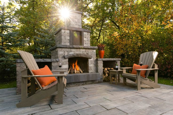 158 best impressive patios images on pinterest precast for Precast concrete outdoor fireplace kits