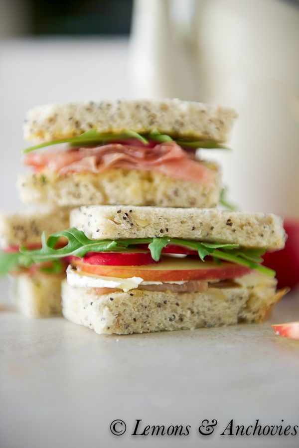 Prosciutto, Apple, Radish, Arugula and Brie Tea Sandwiches with Sage Butter:  Lemons & Anchovies