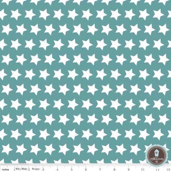 RILEY BLAKE BASIC GWIAZDKI TEAL/MORSKI - myBEEhouse - Tkaniny dla dzieci