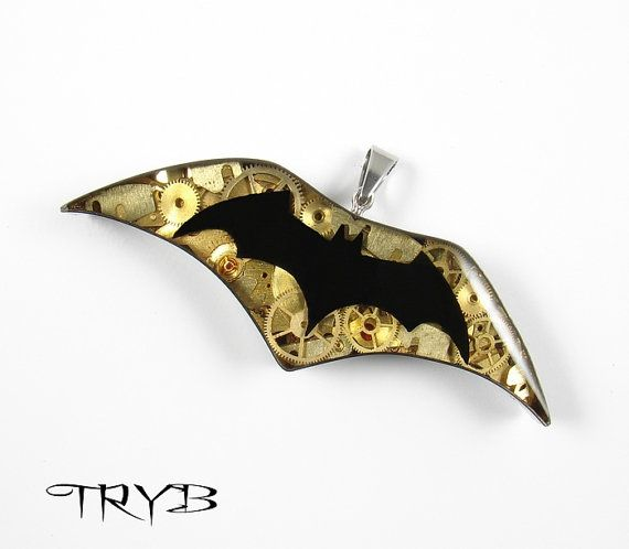 Batman medalion - steampunk style, handmade from parts of watches.  #handmade #jewelry #clockwork #steampunk #batman #sign #medallion #pendant #machanical #superhero #bat #tryb #jewelry