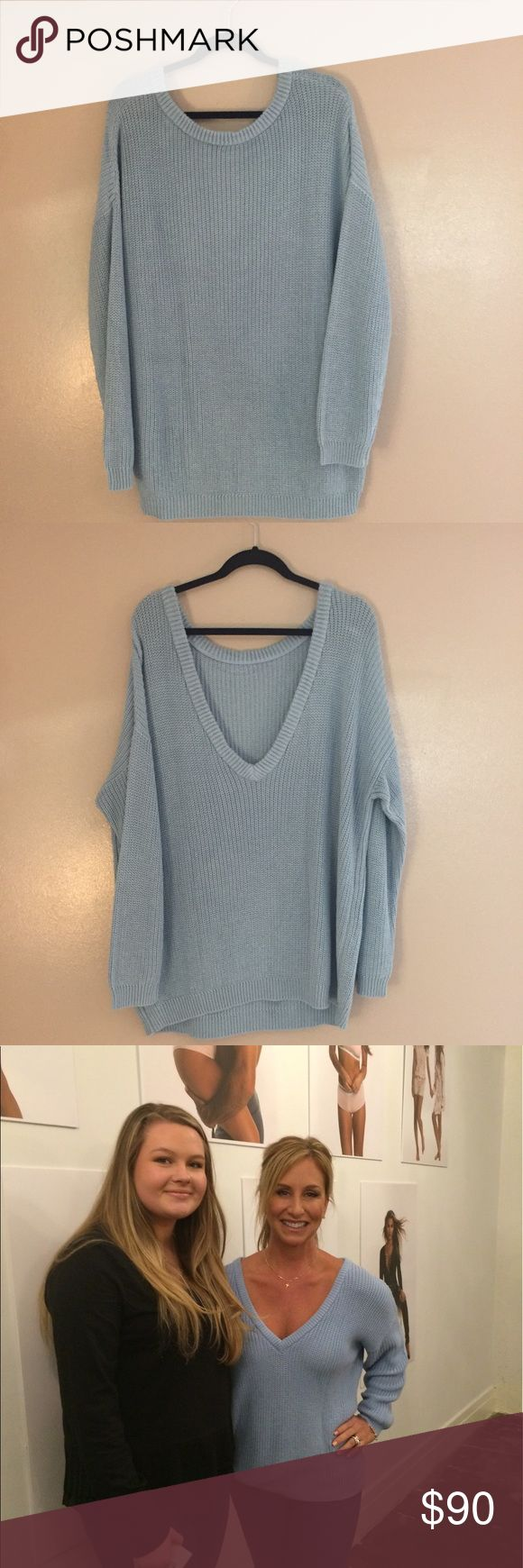 Kittenish By Jessie James Decker Gorgeous baby blue sweater that can be worn any time of year. Has a deep V, and you can be creative with this sweater by wearing it in the front and back. Sweater can be seen on Karen Parker (Jessie James Decker's mom!) Kittenish by Jessie James Decker Sweaters V-Necks