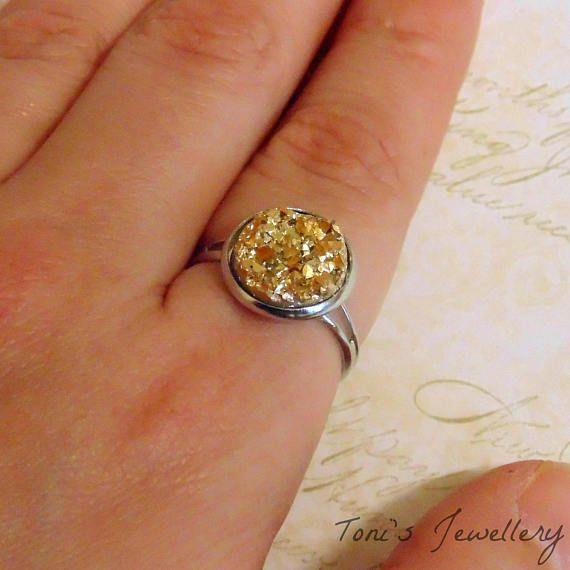 Gold Faux Druzy Ring  Resin Rhinestone Cabochons  12mm