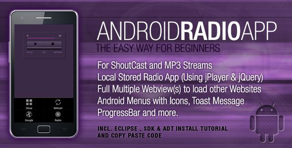Android Radio Streaming App with Webview and Menus (Android)