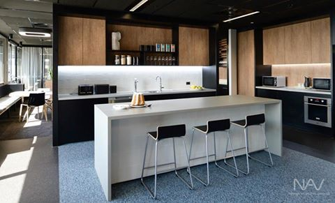 Navurban™ Sherwood | This beautiful kitchen is part of the new Peddle Thorp office upgrade in Brisbane. The vertical surfaces feature our Sherwood decor, which is part of our Navurban™ range.