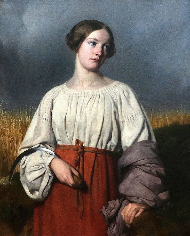 1837.Moissonneuse tenant sa faucille par Alexandre Hesse.Huile sur toile Don Clarke de Feltre, 1852 Inv. 1022.Musée d'arts de Nantes, France