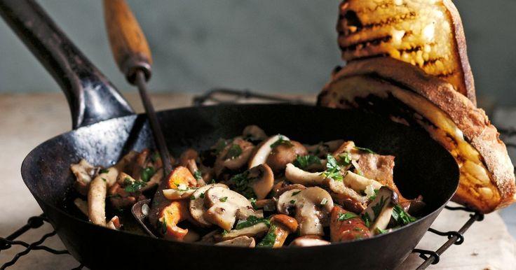 Swap sweet tomatoes for warm garlic mushrooms to make this comforting version of bruschetta.